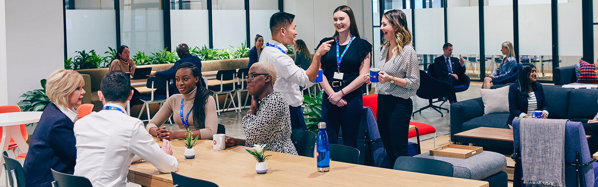 Employees attending a networking event.