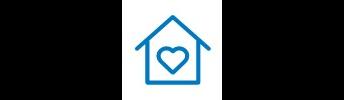 Icône de maison avec un cœur.