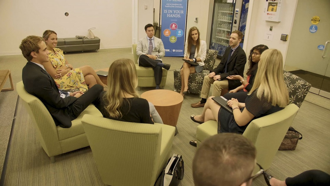 Centene Interns talk about their experience in a group circle