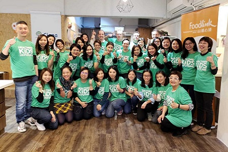Hong Kong employees posing for a photo at our Healthier Kids for our Future event.