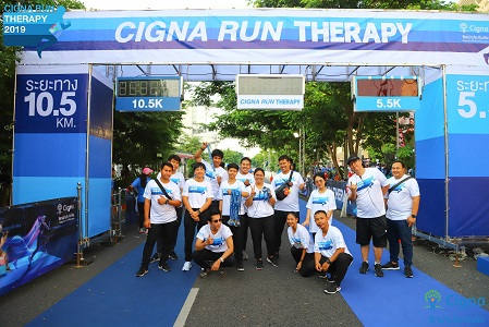 Cigna Thailand employees busy working a community wellness event.