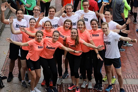 Cigna UK employees exercising together as a team.