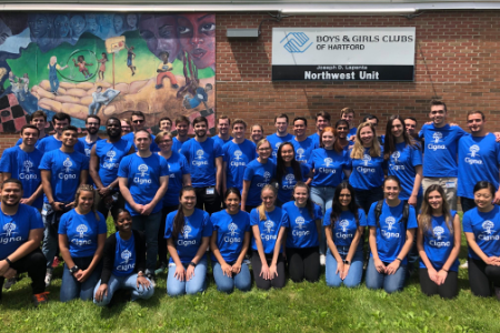 Bloomfield interns volunteer at the local Boys and Girls Club