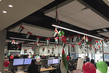 Cigna Thailand office decorated for the holidays.