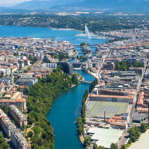 Sky view of Geneva Switzerland
