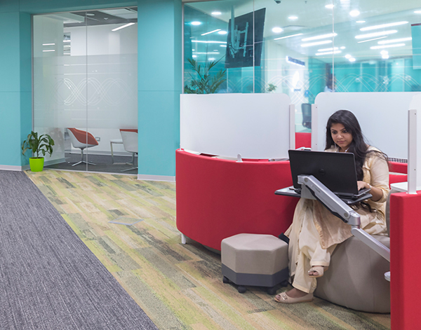 Photograph of Beckman Coulter Diagnostics associate in lounge