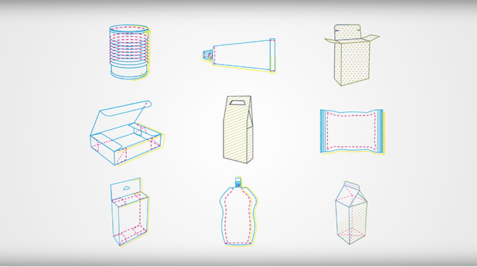 Drawings of boxes and bottles