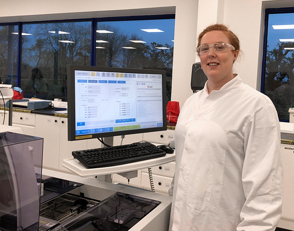 Photograph of Beckman Coulter Diagnostics associate in lab