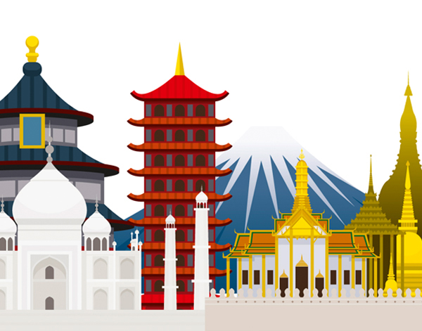 Illustration of Asian buildings