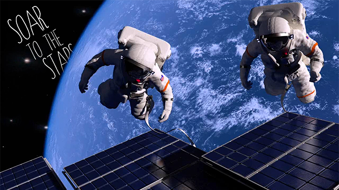 Astronauts floating above Earth