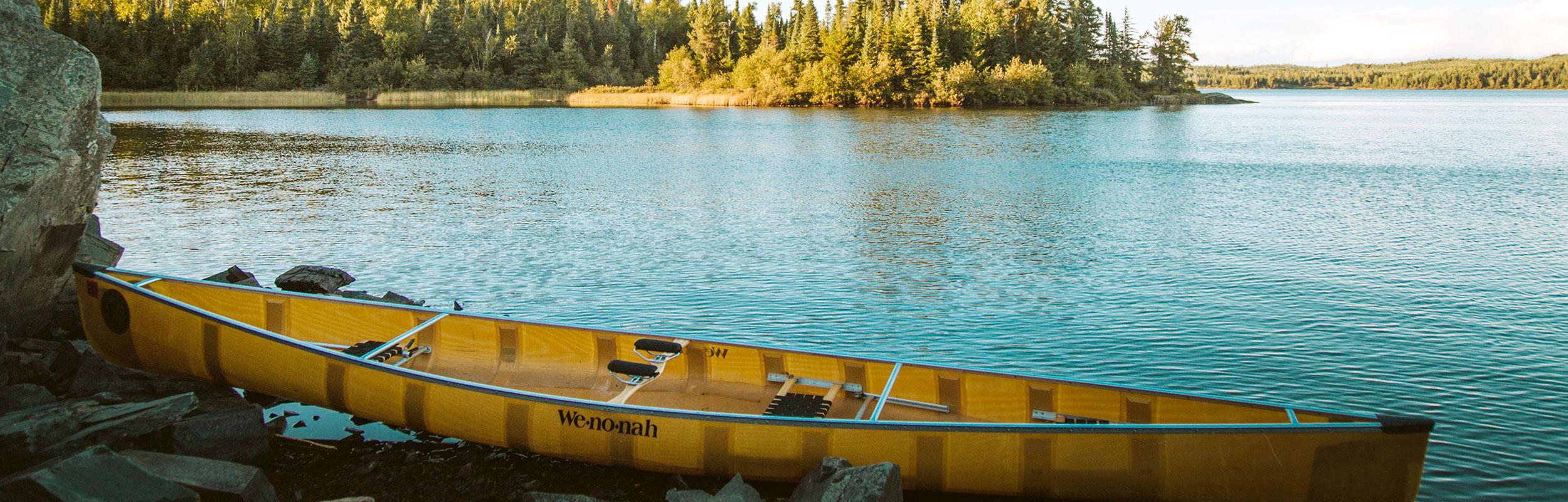 Canoe by a lake in Chanhassen, Minnesota