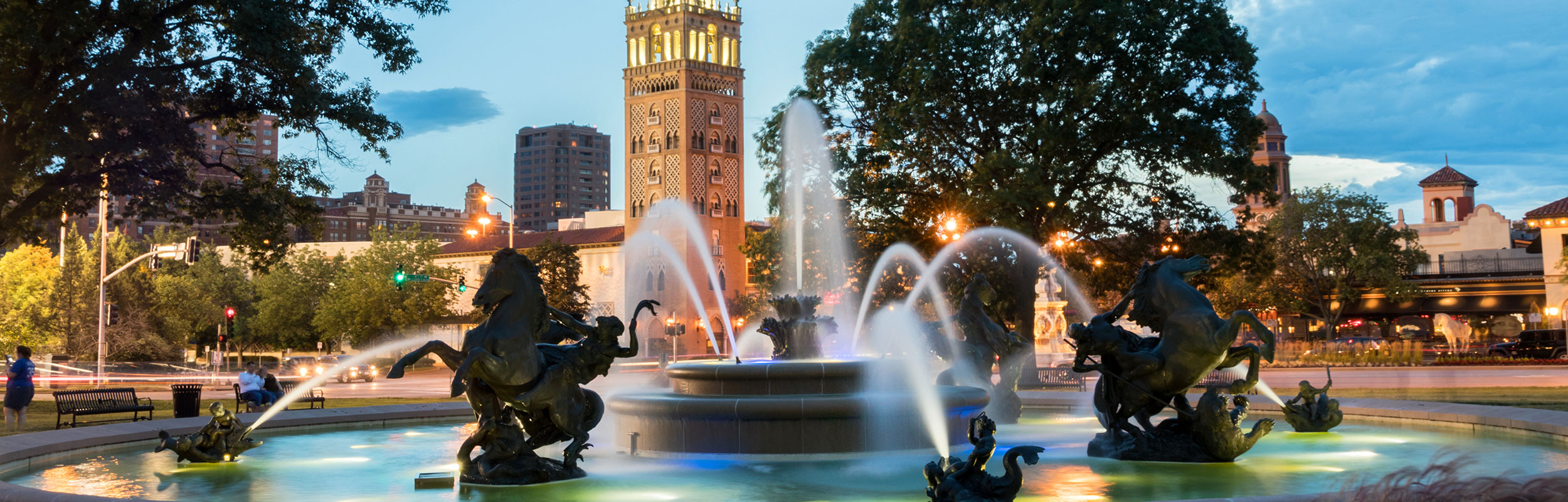 Fountain and buildings on the Plaza in Kansas City, Missouri