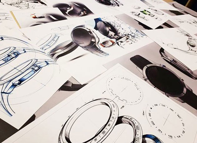Industrial design drawings of wearable products