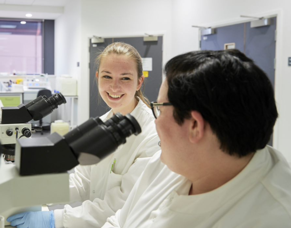 Two colleagues in a lab with microscopes