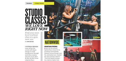 Screenshot of magazine ad featuring Life Time studio classes.