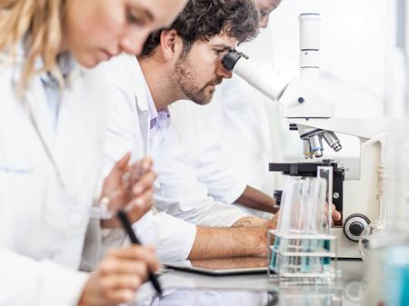 Two scientists examining in the laboratory