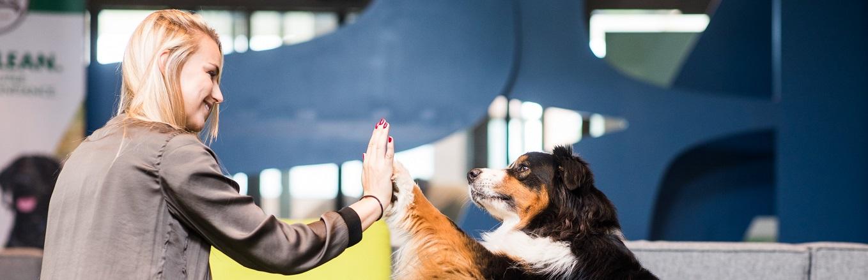 Mars Belgium Associate with her dog