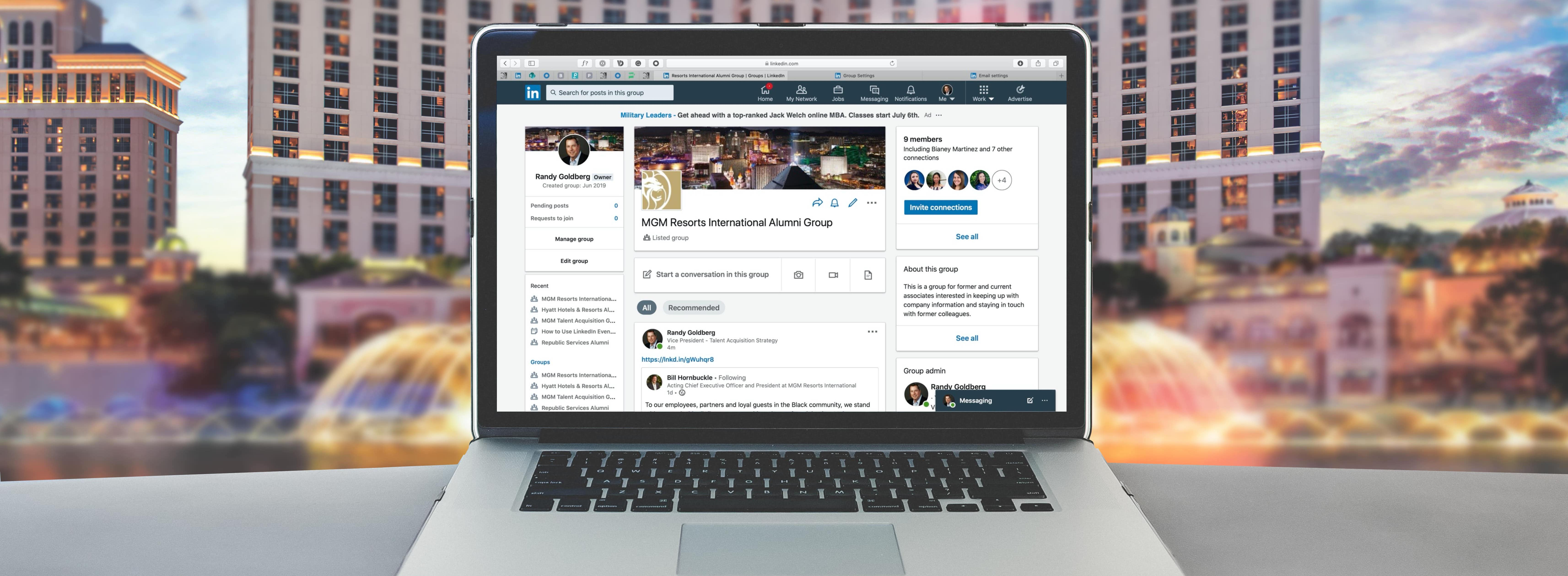 Computer with Linkedin Group