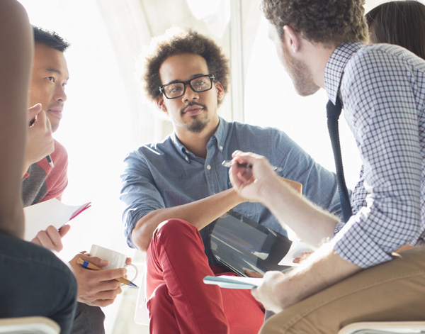 diverse people in group meeting