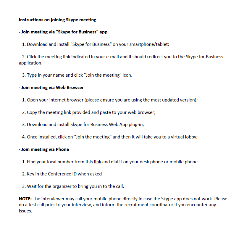 Skype meeting instructions