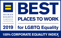 Best Places to Work for LGBTQ Equality Human Rights Campaign 2019 badge