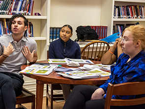 High school students engaging in a group discussion