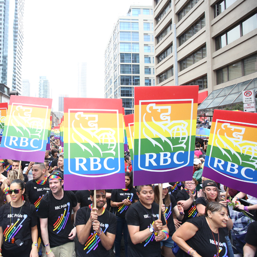 Employees at the RBC Pride Parade.