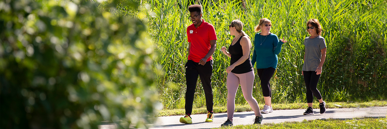 team walking outdoors