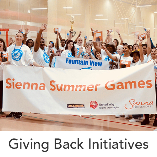 Giving Back Initiatives image of a group photo for the Sienna Summer Games