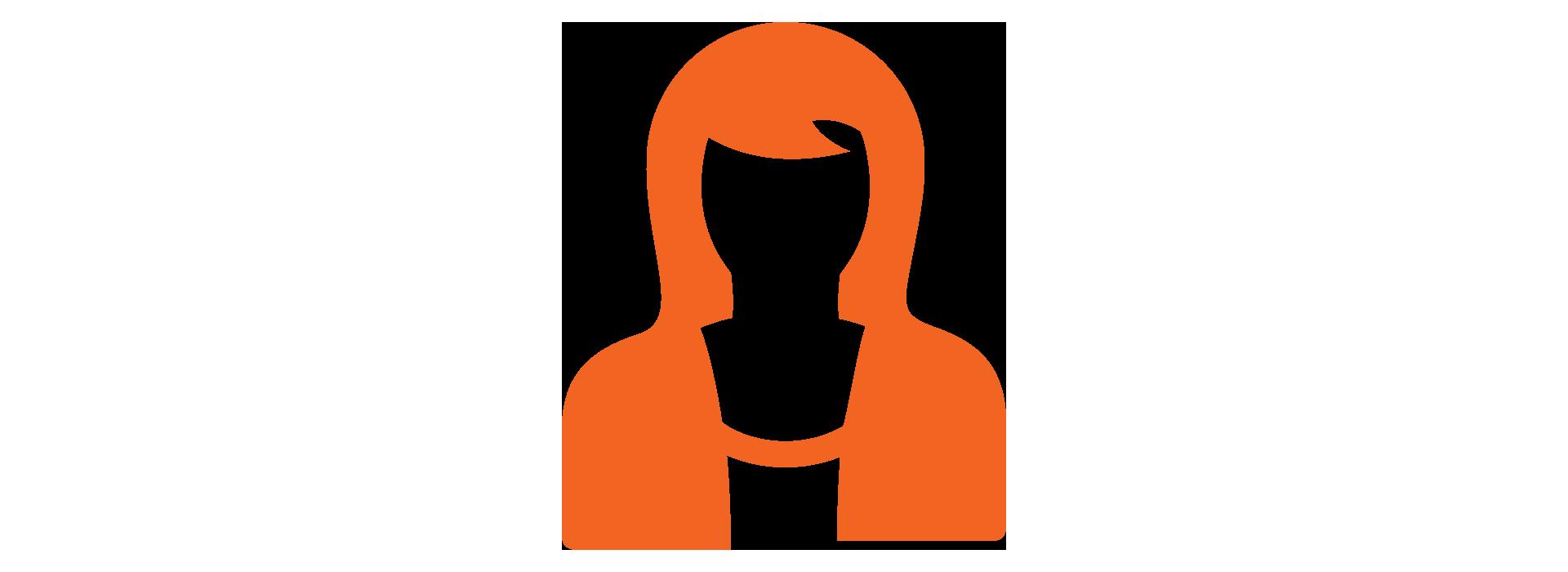 graphic of female leader in Sienna Orange