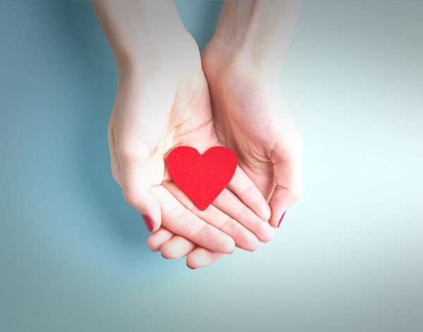 image of a person holding red heart in hands on aquamarine background