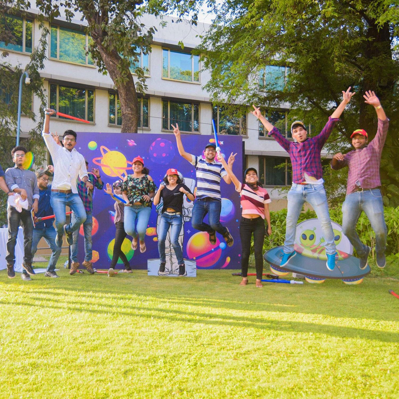 Campus teens jumping