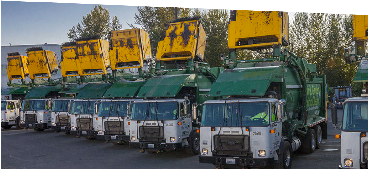 group of trucks at Waste Management