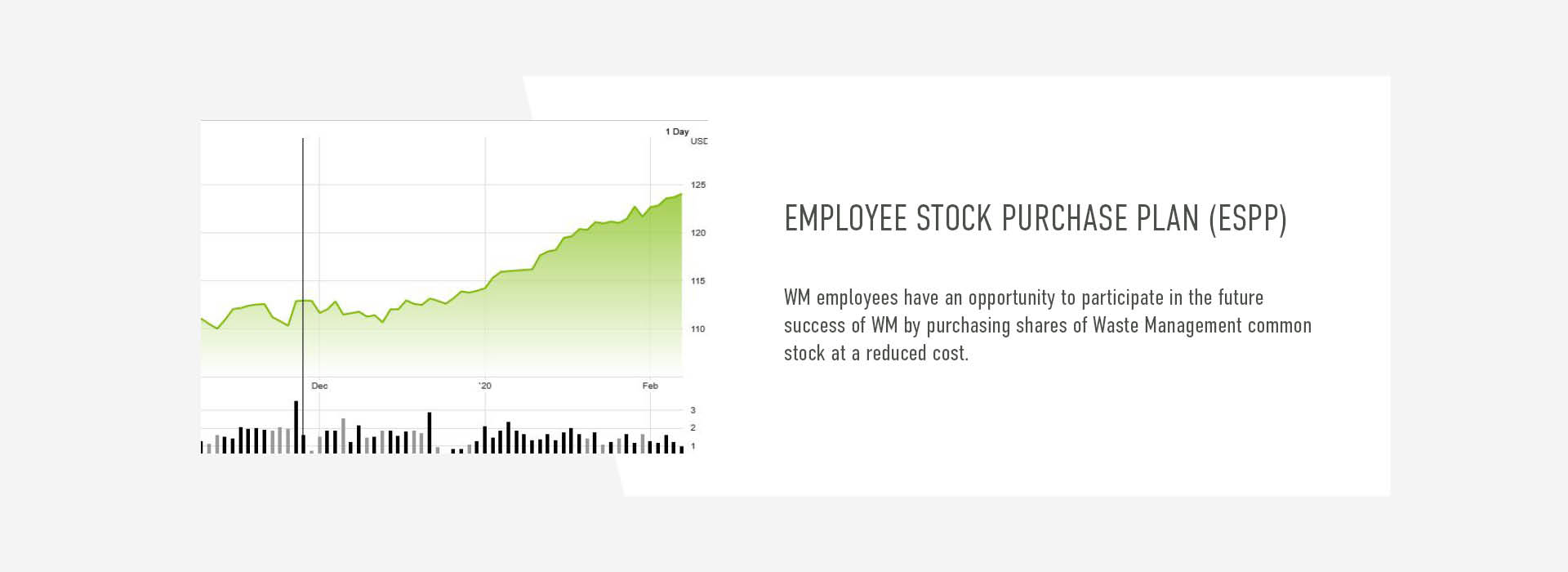 WM employees have an opportunity to participate in the future  success of WM by purchasing shares of Waste Management common stock at a reduced cost.