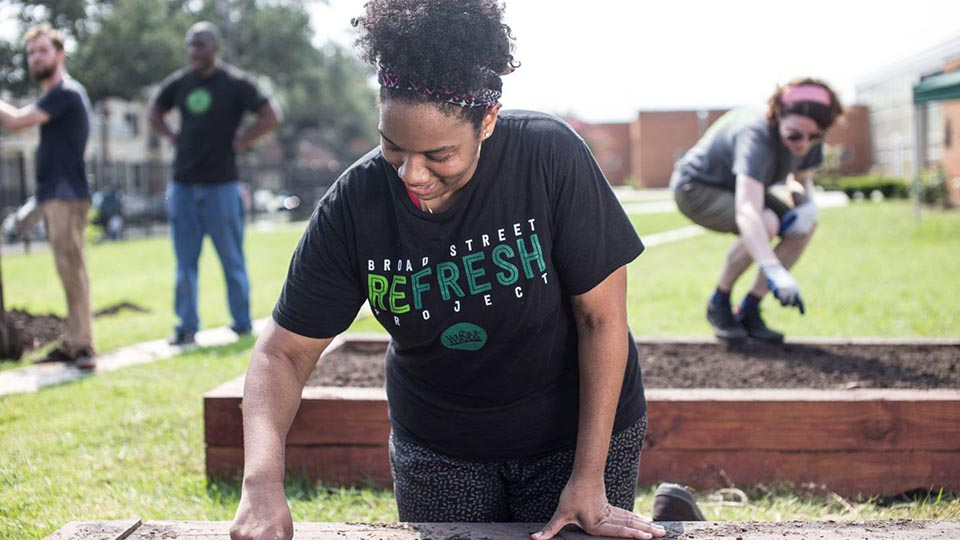 Team Members Planting a Garden
